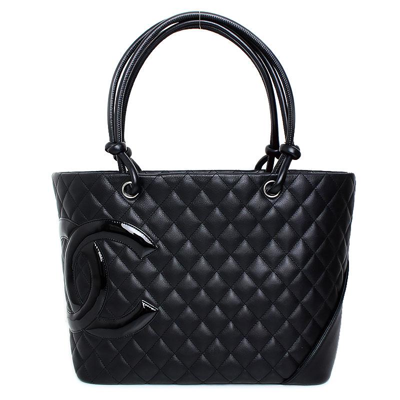 2d53e7c8f59b5f BrandCity: Chanel lambskin Cambon line large tote bag black X pink ...