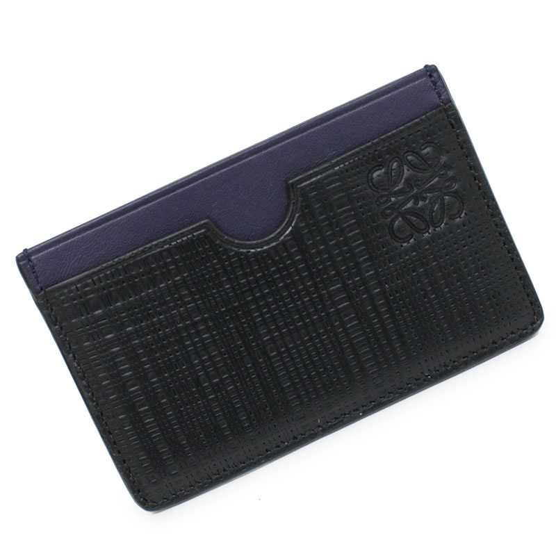 ロエベ レザー パスケース カードケース ブラック×ネイビーブルー 箱付【新品・未使用品】