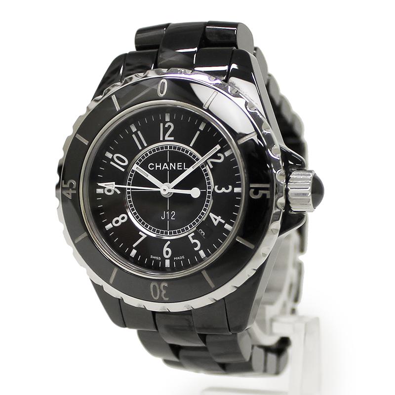 シャネル J12 セラミック ブラック 33mm クォーツ レディース 腕時計 H0682 箱付【美品】