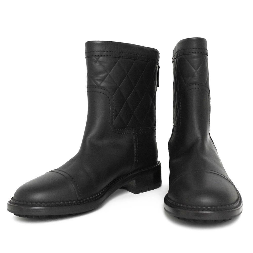 シャネル カーフ マトラッセ ココマーク キルティング レディース ブーツ 35 1/2 ブラック 黒 G30231 シューズ 靴【未使用 展示品】
