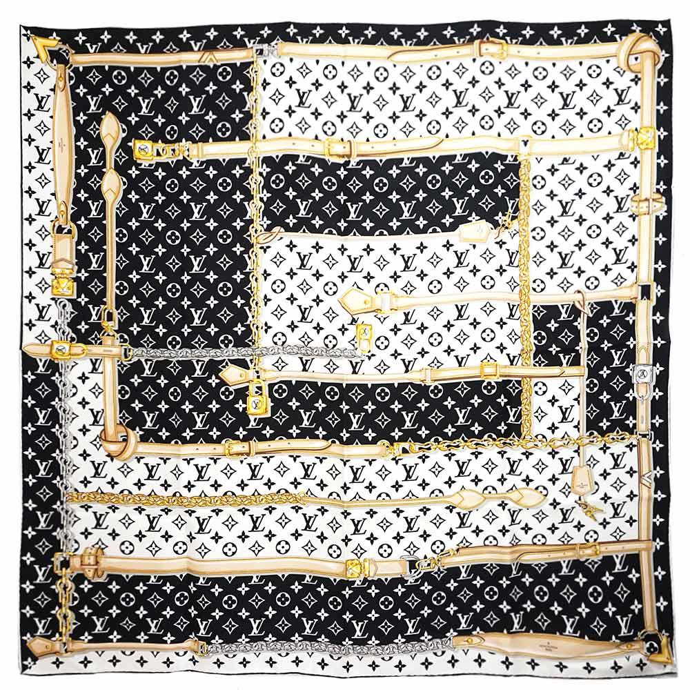 ルイ・ヴィトン カレ・モノグラム コンフィデンシャル シルク 100% スカーフ ノワール M78667 箱付【新品・未使用品】