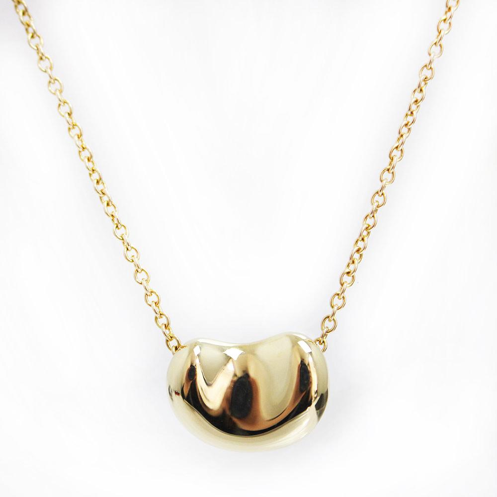 【美品】ティファニー エルサ・ペレッティ ビーン デザイン ペンダント ネックレス K18 750 ゴールド