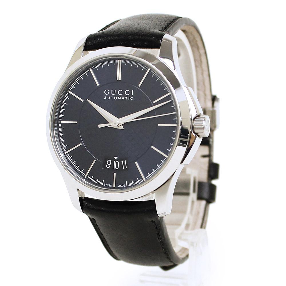 【美品】グッチ Gタイムレス SS×レザー 自動巻き メンズ 腕時計 ブラック×ネイビー文字盤 126.4 YA126443