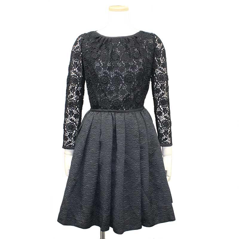 【美品】レッドヴァレンティノ レース×ジャガード切り替えドレス 40 ブラック