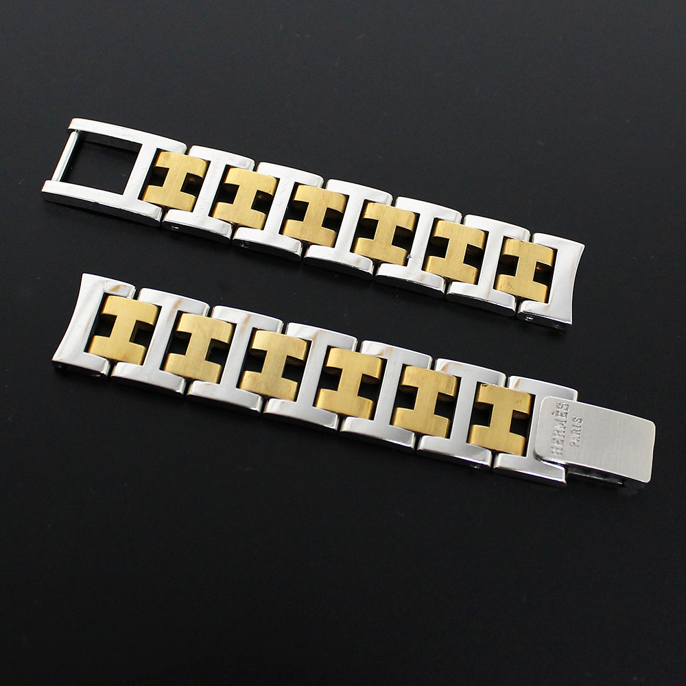 【中古】エルメス SS×GP クリッパー 腕時計 バンド ブレスレット 12mm用