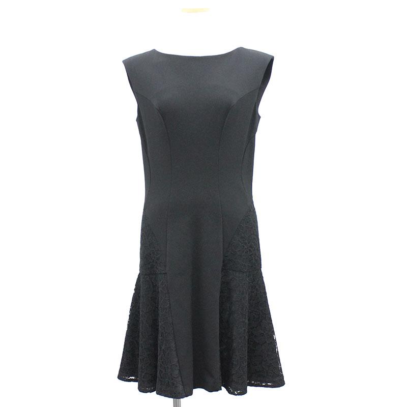 【美品】ダイアンフォンファステンバーグ 裾レース フレアドレス 6 ブラック 黒
