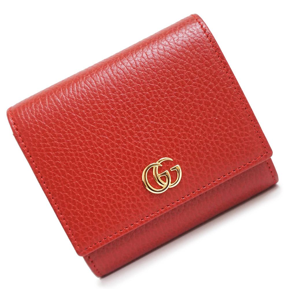 【新品・未使用品】グッチ GGマーモント レザー 二つ折り財布 レッド 赤 598587 箱付