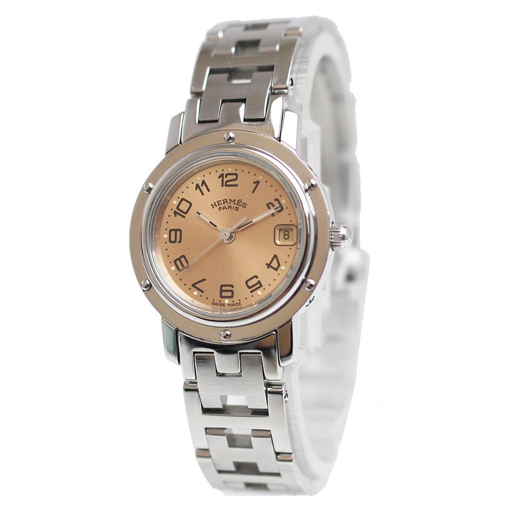【中古】エルメス クリッパー レディース クオーツ 腕時計 CL4.210 ピンク 箱付