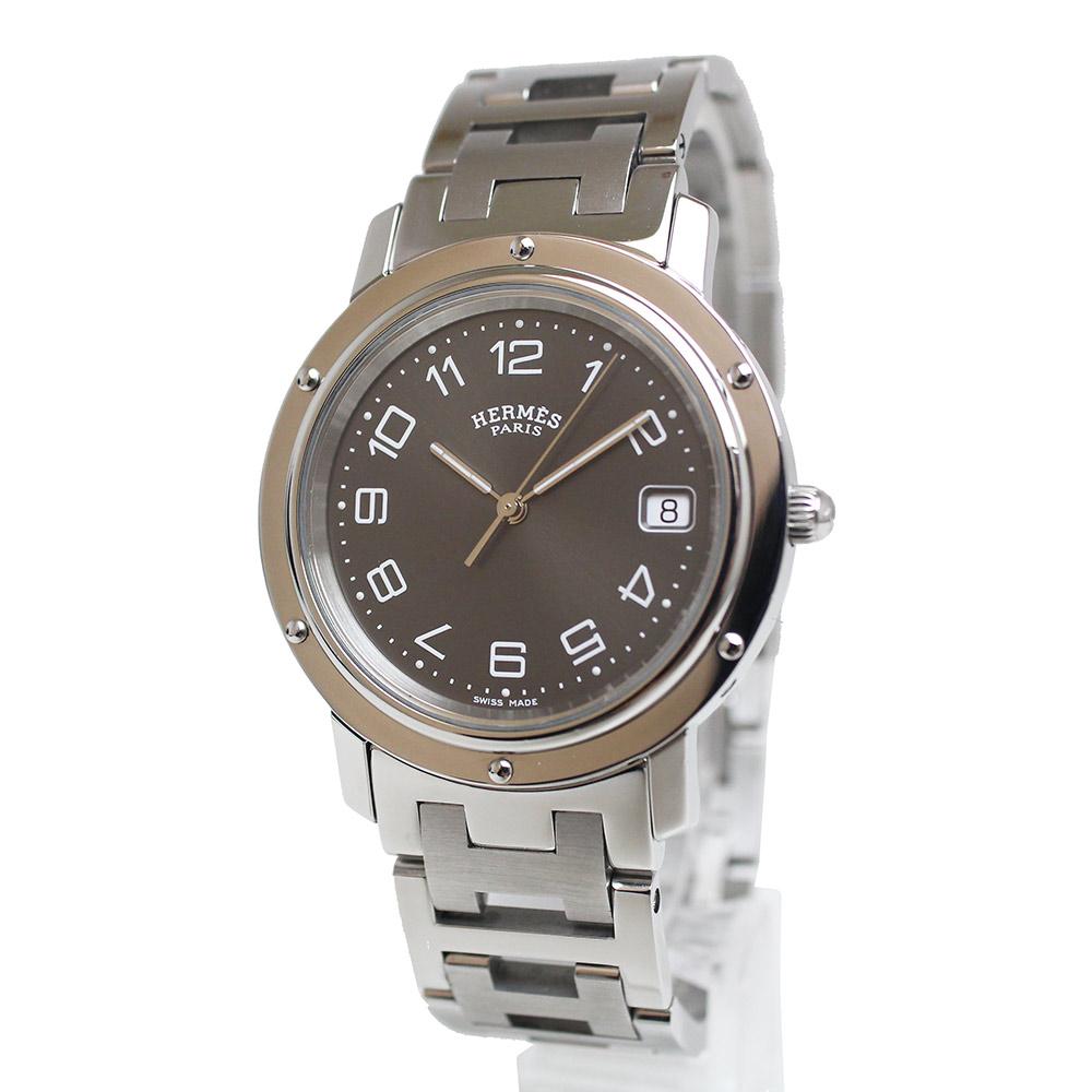 【中古】エルメス クリッパー メンズ クォーツ 腕時計 CL6.710 ダークグレー