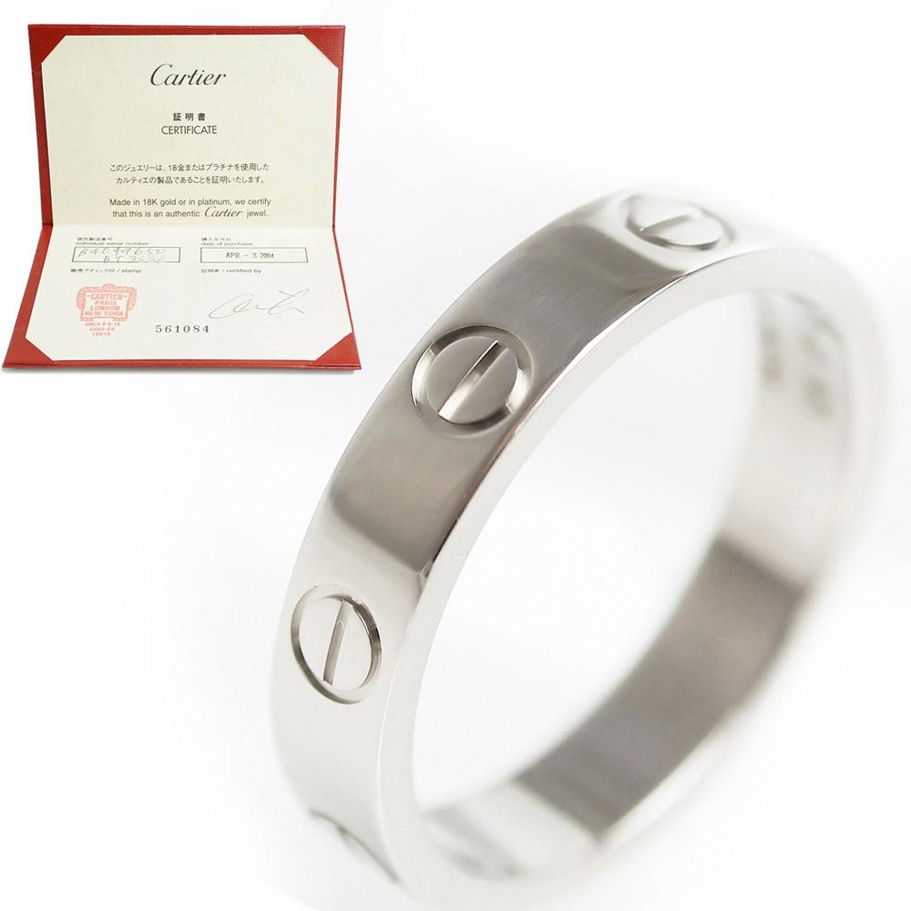 【美品】カルティエ ミニ ラブリング 指輪 750 K18WG ホワイトゴールド #50 10号 B4049600 ギャラ 保証書付