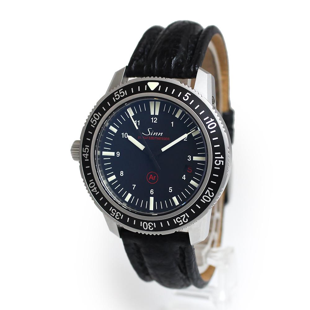 【中古】ジン アインザッツ・ツァイト・メッサー 自動巻き メンズ 腕時計 シャークレザー ブラック 黒 603.EZM3 箱付
