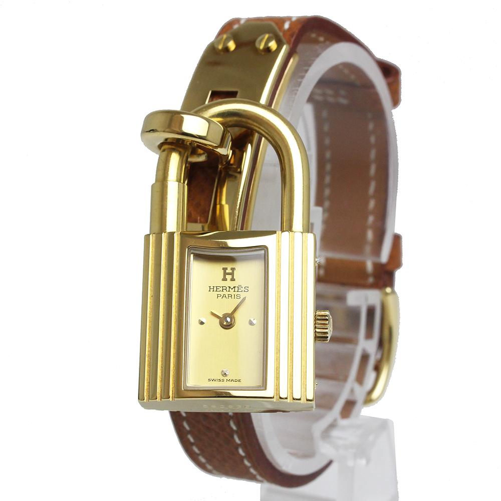 【中古】エルメス ケリーウォッチ レディース 腕時計 クシュベル ゴールド ○W刻印 KE1.210 箱付