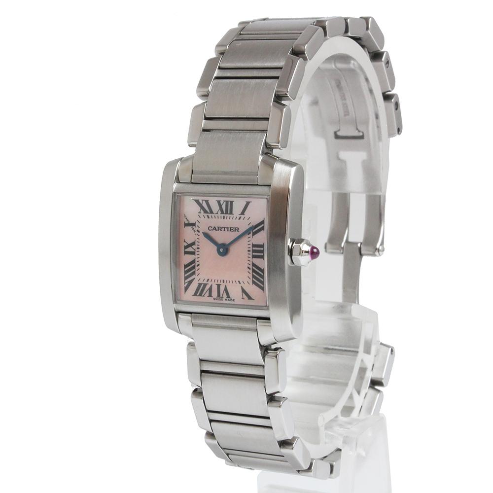 【美品】カルティエ タンクフランセーズ SM クオーツ レディース 腕時計 ピンクシェル W51028Q3