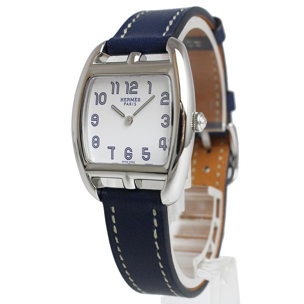 【美品】エルメス ケープコッド トノー クオーツ レディース 腕時計 CT1.210 □N刻印 ネイビー ブルー 青