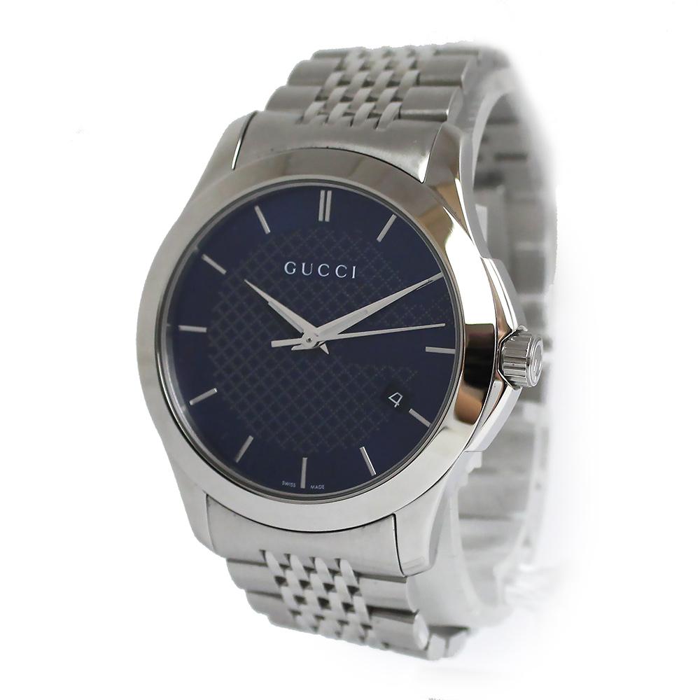 【美品】グッチ Gタイムレス ブルー文字盤 クオーツ メンズ 腕時計 YA126481 箱付