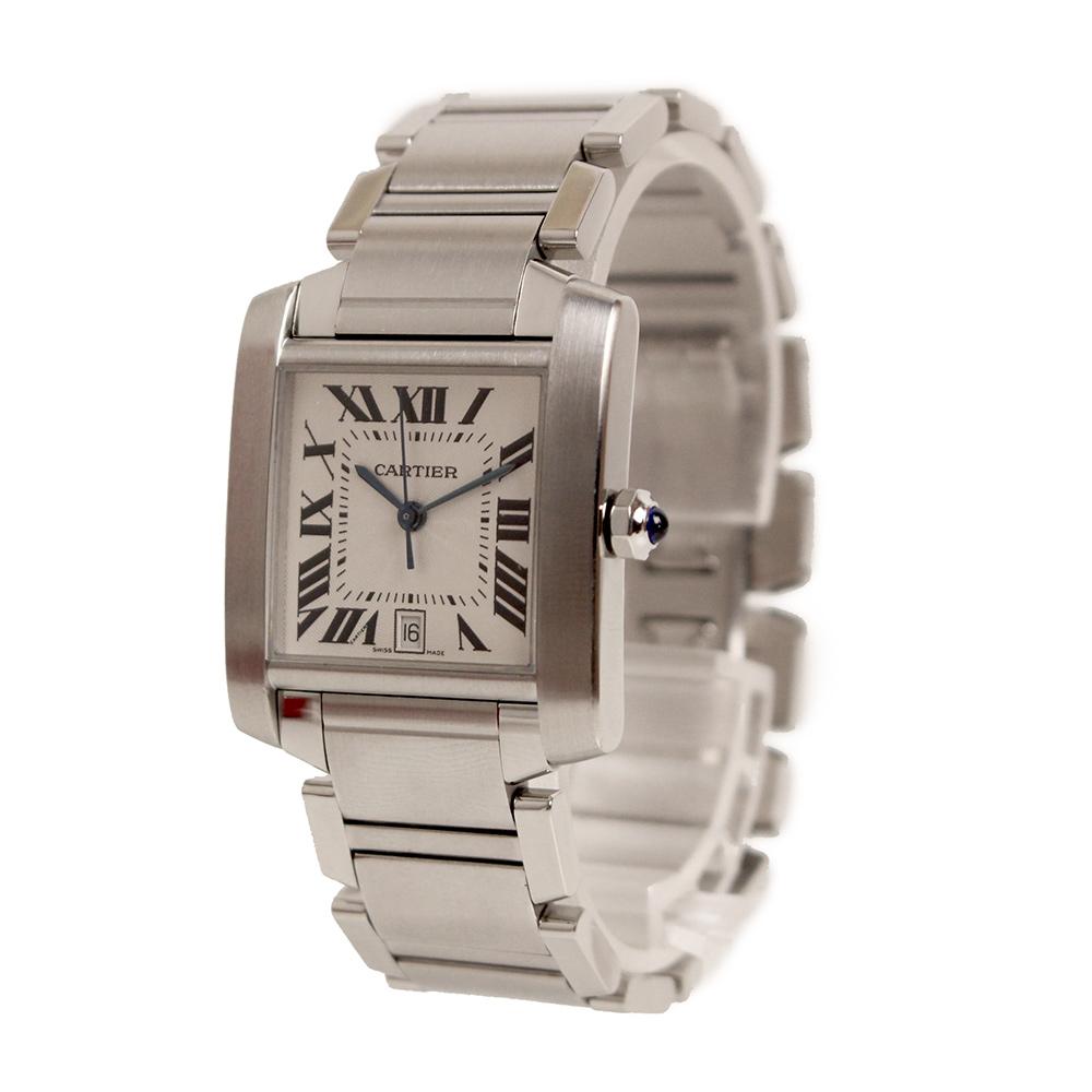 【美品】カルティエ タンクフランセーズ LM 自動巻き メンズ 腕時計 W51002Q3