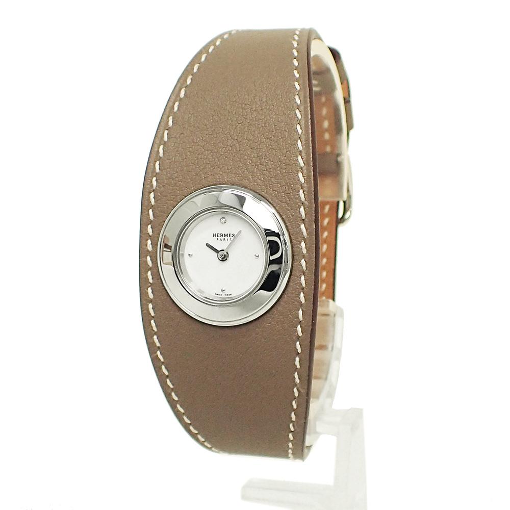 【未使用 展示品】エルメス フォーブル マンシェット クォーツ レディース 腕時計 エトゥープ T刻印 FG2.110 箱付