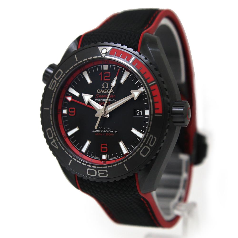 【未使用 展示品】オメガ シーマスター 600 プラネットオーシャン ディープブラック GMT コーアクシャル マスタークロノメーター ラバー 自動巻き メンズ 腕時計 215.92.46.22.01.003