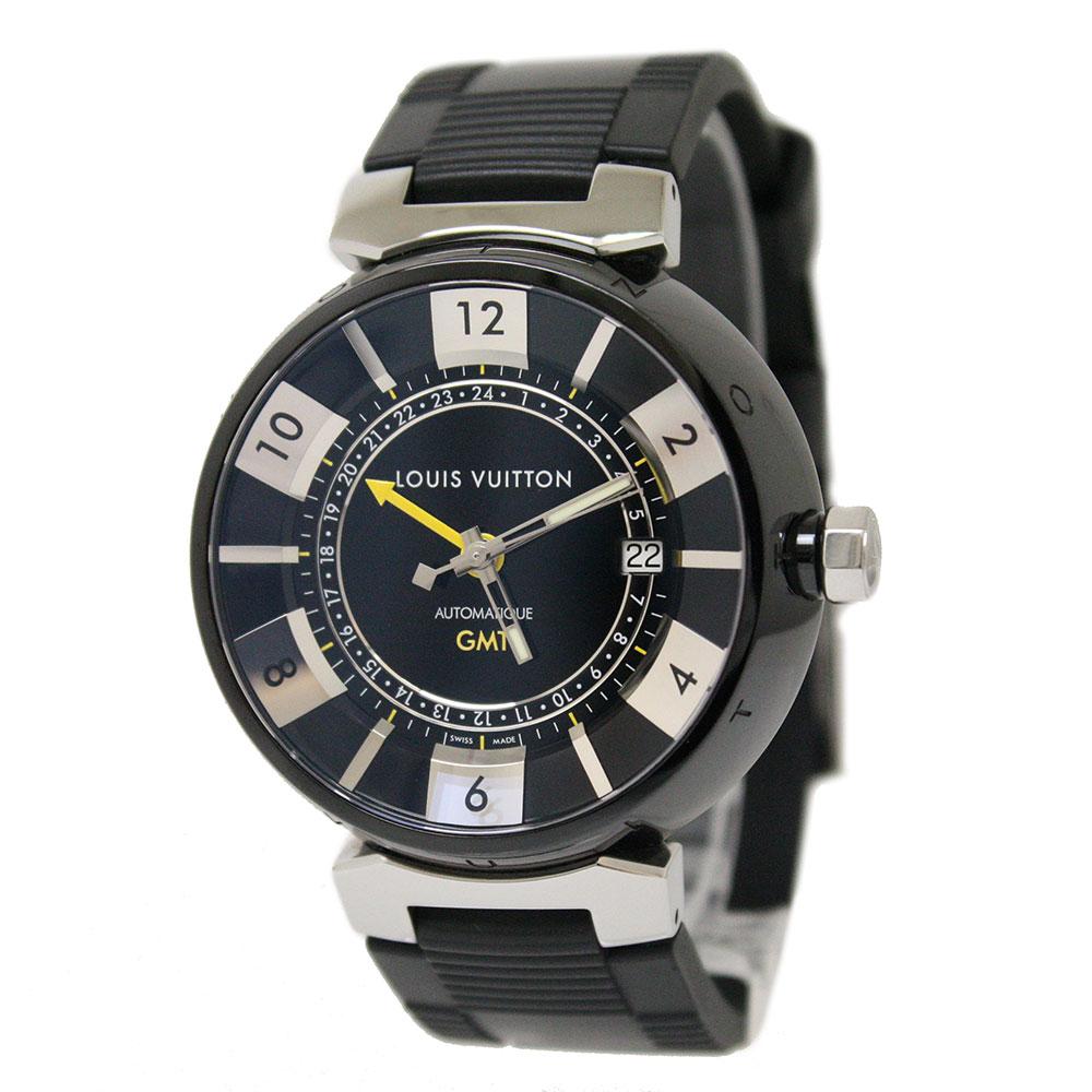 【中古】ルイ・ヴィトン タンブール インブラック GMT 自動巻き メンズ腕時計 SS×ラバー Q113K0 箱付