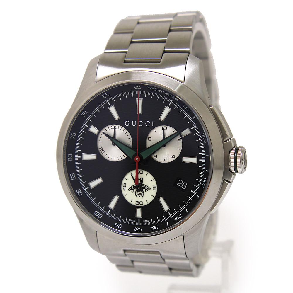 【美品】グッチ Gタイムレス クロノグラフ クオーツ メンズ 腕時計 YA126267