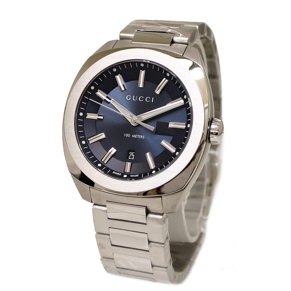 【新品・未使用品】グッチ Gタイムレス ブルー文字盤 クオーツ メンズ 腕時計 YA142303 箱付