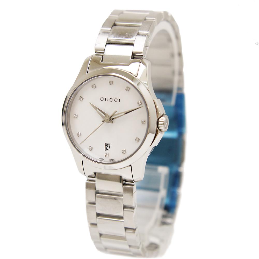 【新品・未使用品】グッチ Gタイムレス 12Pダイヤ シェル文字盤 クオーツ レディース 腕時計 YA126542 箱付