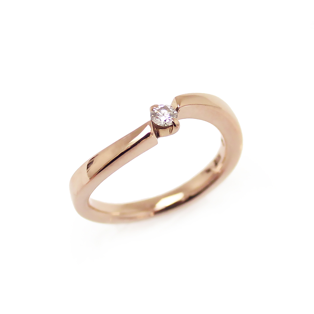 【美品】4℃ ダイヤリング 指輪 K18PG ピンクゴールド レディース 4号 箱付
