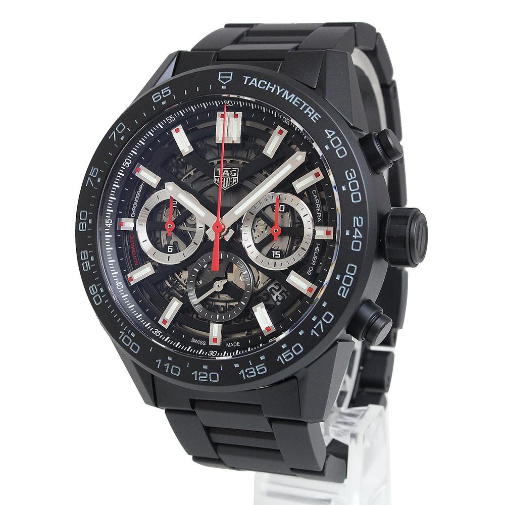 【美品】タグホイヤー カレラ ホイヤー02 クロノグラフ CBG2A90.BH0653 自動巻き メンズ 腕時計 ブラック 黒