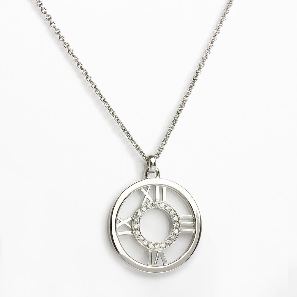 【美品】ティファニー アトラス メダリオン ペンダント ネックレス 20Pダイヤモンド 750 K18WG ホワイトゴールド
