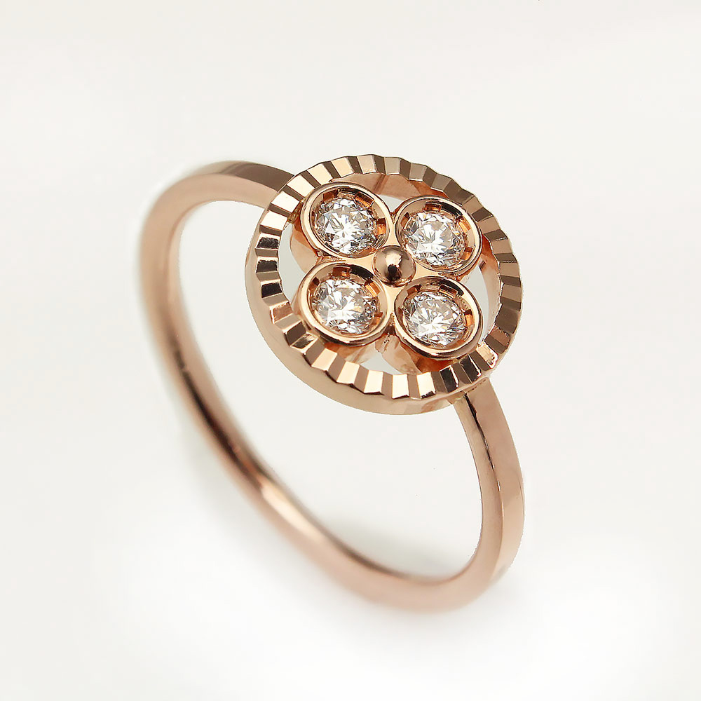 750 #51 BB リング バーグ 指輪 サンブロッサム Q9H38G 11号 レディース K18PG×4Pダイヤ 【美品】ルイ・ヴィトン