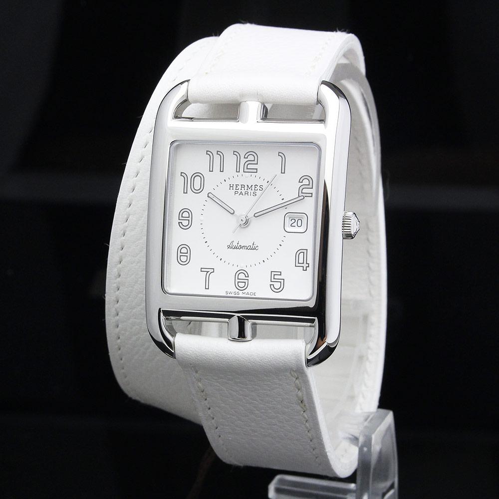 【未使用 展示品】エルメス ケープコッド ドゥブルトゥール 自動巻き 腕時計 CC1.710 □E刻印 ホワイト 白 箱付