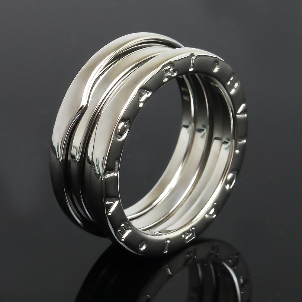 【美品】ブルガリ B zero 1 ビー ゼロワン 3バンド リング 指輪 750 K18WG ホワイトゴールド #53 13号 AN191024