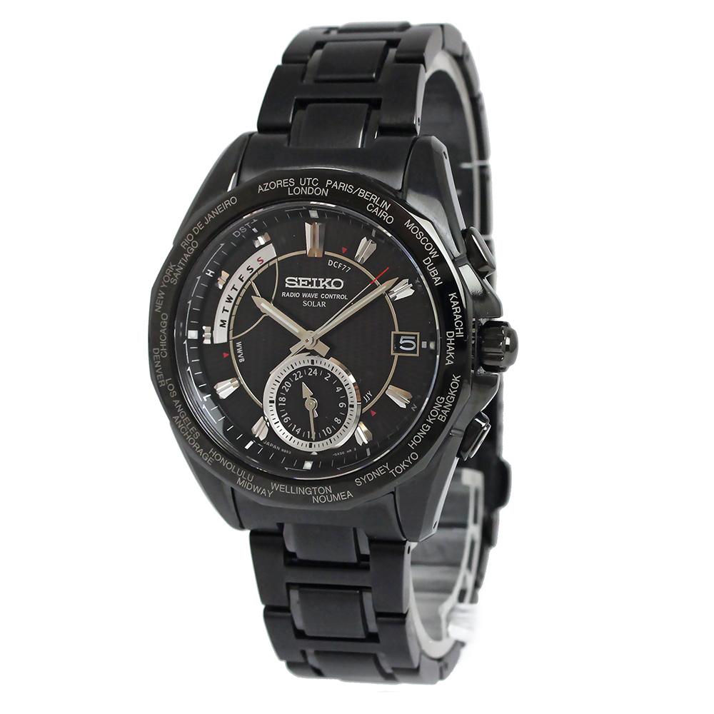 SAGA041 【美品】セイコー ワールドタイム ソーラー電波 メンズ 8B53-0AG0 腕時計 黒 ブラック ブライツ