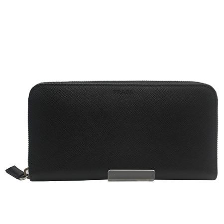 未使用【プラダ PRADA】サフィアーノ 2ML317 レザー ブラック 黒 ラウンドファスナー 財布 長財布
