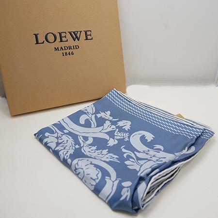 《週末限定タイムセール》 ロエベ 直営限定アウトレット スカーフ ブルー シルク LOEWE レディース ブルー系 未使用