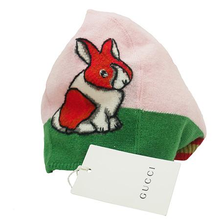 未使用【GUCCI グッチ】ニット帽 兎 ウサギ うさぎ 帽子 ウール100% 乳幼児用 BRAND CANDY