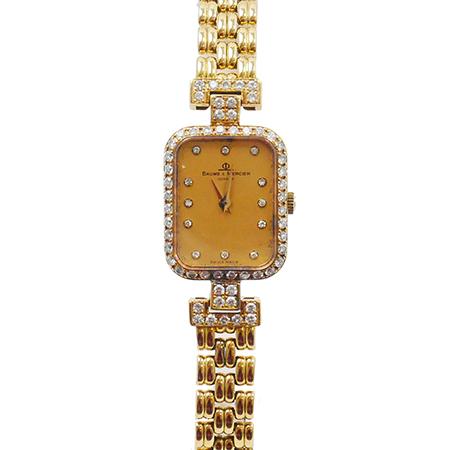 【BAUME&MERCIER ボームアンドメルシェ】 18K 750 クォーツ レディース ダイヤベゼル 12P 腕時計