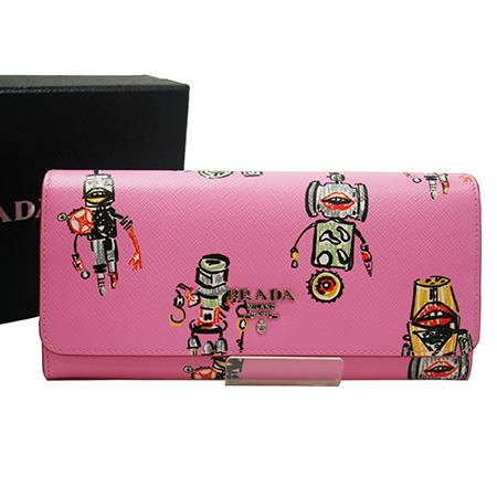 極美品【PRADA プラダ】サフィアーノ ストラップウォレット ロボット 長財布 ピンク ローズ ロゴ 1MG132 財布