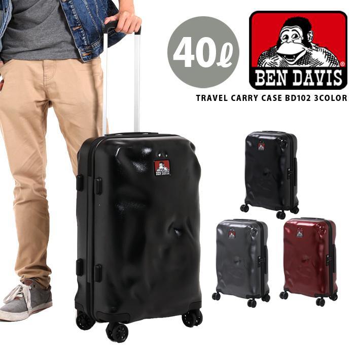 キャリーケース キャリーバッグ BEN DAVIS ベンデイビス キャリー ジップキャリー スーツケース 旅行かばん 旅行バッグ トランク 40L 22インチ Sサイズ 1~3日宿泊 メンズ レディース ユニセックス BD102 大容量 黒 BC