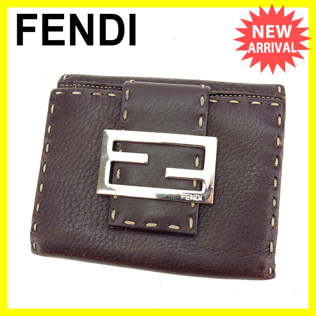 【中古】 フェンディ FENDI Wホック財布 レディース ロゴ ブラウン C2302 .