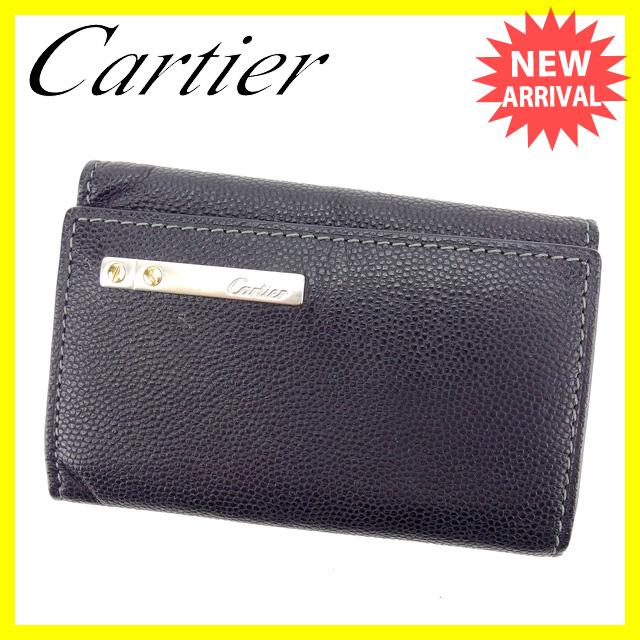 【中古】 カルティエ Cartier キーケース 6連キーケース レディースメンズ可 ブラック×シルバー レザー 激安 人気 S229 .