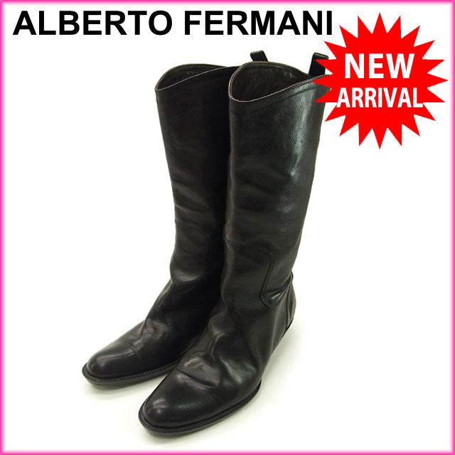 【中古】 アルベルトフェルマーニ ALBERTO FERMANI ブーツ ミディアム レディース ♯35・イタリア製 ブラック C746 .