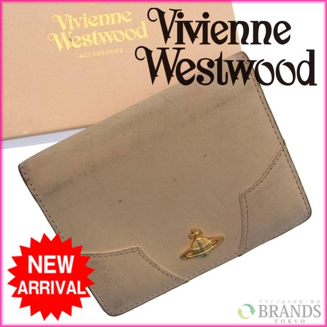 e4318fb5fd31 【中古】 ヴィヴィアン・ウエストウッド Vivienne Westwood パスケース ロゴ ベージュ レザー×ゴールド