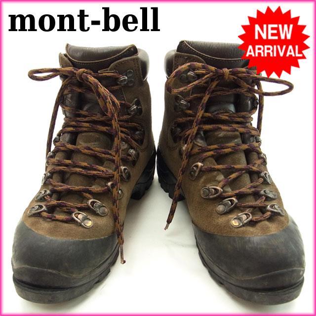 【中古】 モンベル mont-bell 登山ブーツ ロゴ ブラウン×ブラック スエード×レザー D438 .