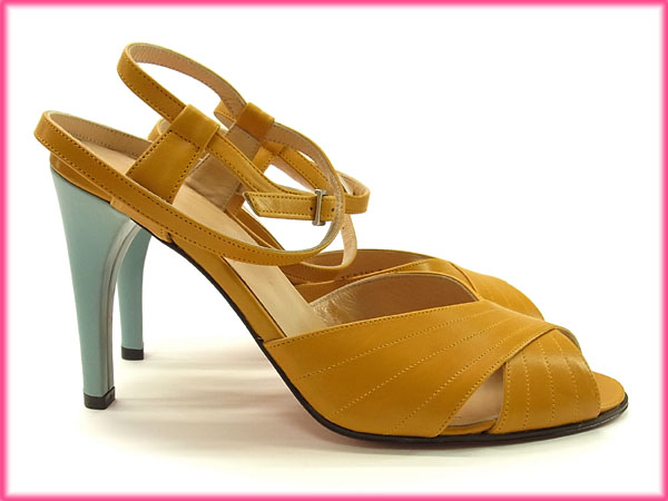 d5b376fbfe83 Bally BALLY Sandals mules shoes Womens   36 half-Uncle double-strap cross  design mustard   blue-green leather with Mint popular G477