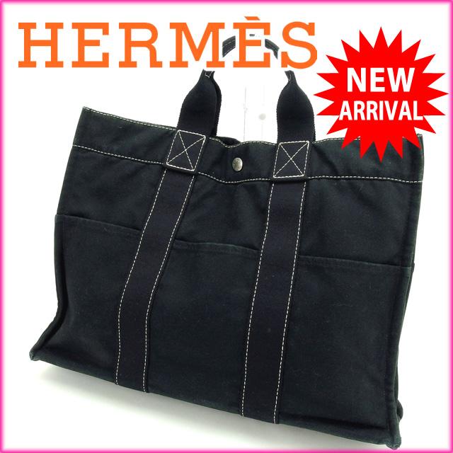 896bfaad5032 フールトゥカバス メンズ 【中古】 キャンバス HERMES ブラック グレー 縦長 レディース トートバッグ エルメス