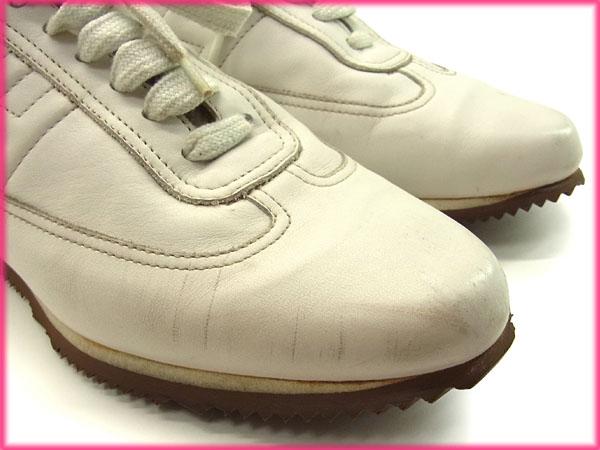 エルメス HERMES スニーカー シューズ 靴 メンズ ♯37 クイック ホワイト×ライトブラウン T15993pjVSUzLqMG
