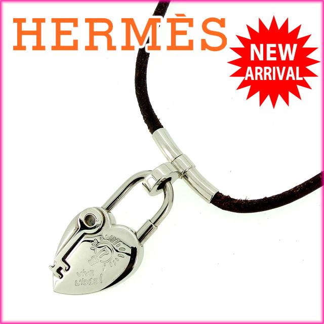 【中古】 エルメス HERMES ネックレス ヴィヴィリデ ブラウン×シルバー レザー×シルバー素材 (あす楽対応)人気 激安 Y948