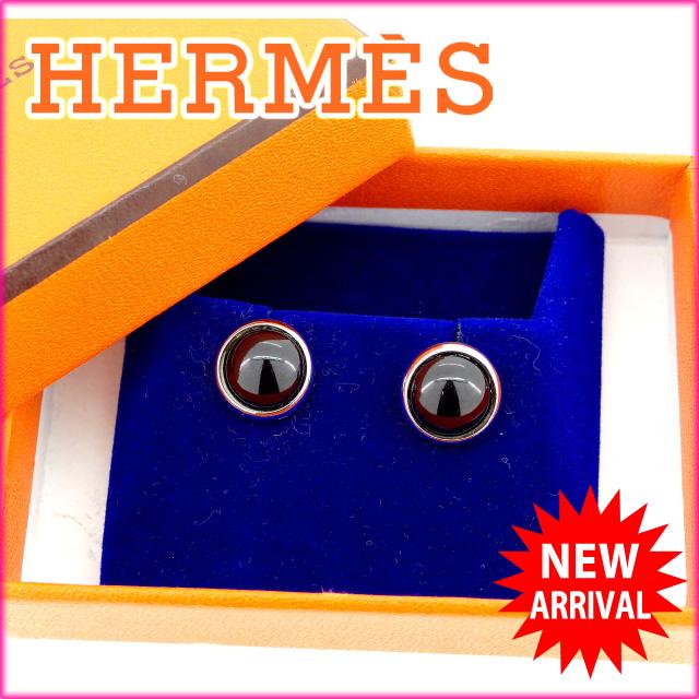 【中古】 エルメス HERMES ピアス メンズ可 エクリプス ブラック×シルバー シルバー925 (あす楽対応)人気 超美品 Y1389 .