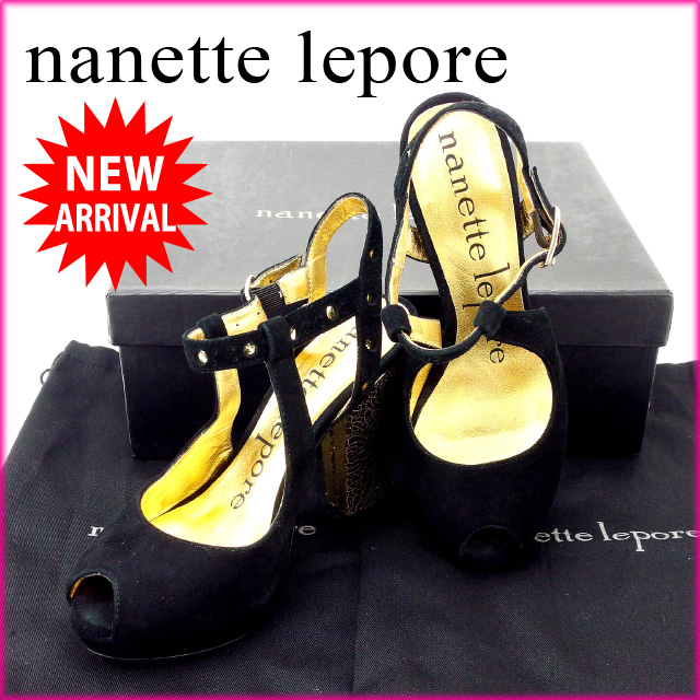 【中古】 ナネット・ポレー nanette lepore サンダル #7 レディース ブラック×ゴールド スエード (あす楽対応)人気 未使用 Y1535 .